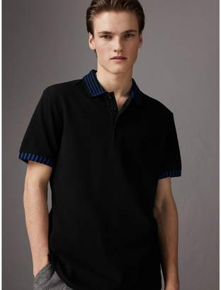 Burberry Knitted Detail Cotton Piqué Polo Shirt