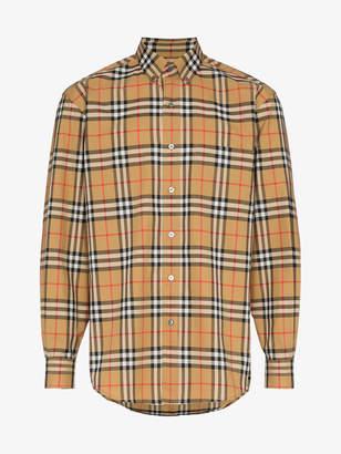 Burberry check print cotton long sleeve shirt