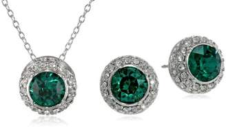 Swarovski Sterling Silver Emerald Round Halo Pendant Necklace and Stud Earrings Jewelry Set Made with Crystal