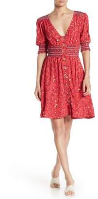 Taylor & Sage Smocked Floral Button Up Dress