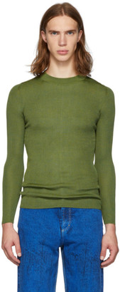 Judy Turner Green Silk Base Crewneck Sweater
