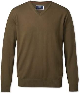 Charles Tyrwhitt Olive V-Neck Merino Wool Sweater Size XXL