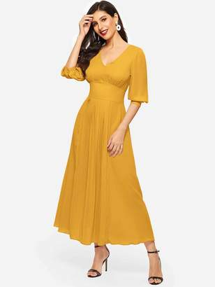 Shein Puff Sleeve Wide Waist Pleated Front Dress