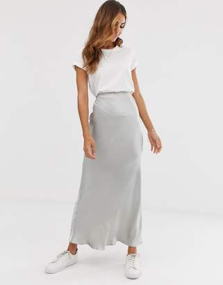 Asos Design DESIGN bias cut high shine satin city maxi skirt
