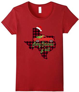 Merry Christmas Y'all Red Plaid T-Shirt