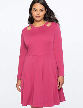 ELOQUII Cut Out Neckline Fit and Flare Dress