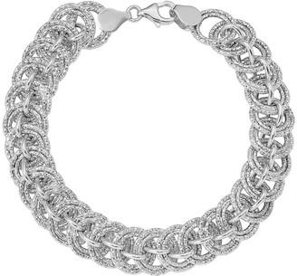 Italian Gold Double Round Link Bracelet 14K, 7.6g