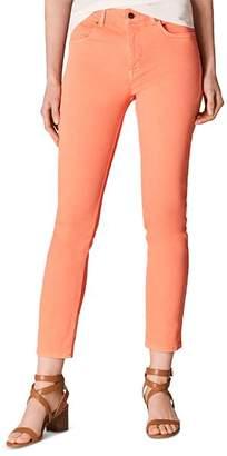Karen Millen Cropped Skinny Jeans in Coral