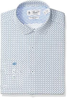 Original Penguin Men's Slim Fit Performance Blue Lizard Print Dress Shirt
