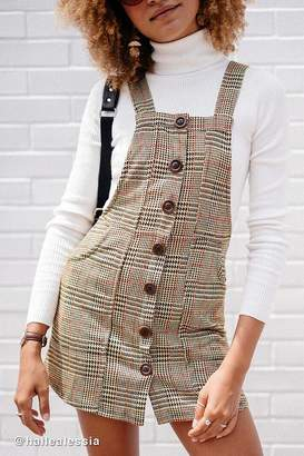 Urban Outfitters Joey Plaid Button-Down Skirtall Overall