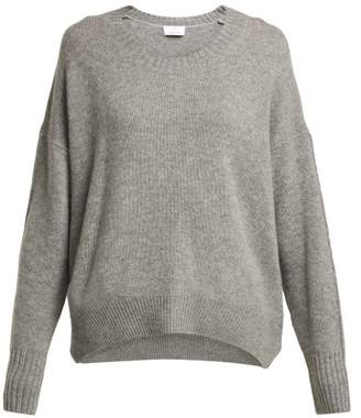 Allude Round Neck Cashmere Sweater - Womens - Dark Grey