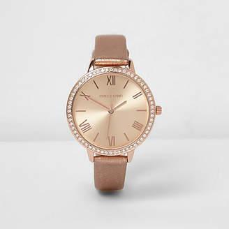 River Island Rose gold tone metallic strap watch