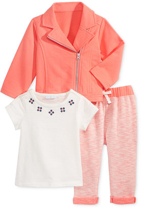 First Impressions 3-Pc. Moto Jacket, T-Shirt & Marled Leggings Set, Baby Girls (0-24 months), Only at Macy's $52.50 thestylecure.com