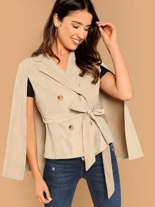 Shein Double Button Cloak Sleeve Coat