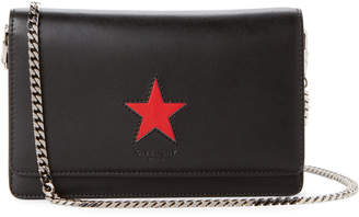 Givenchy Black & Red Star Leather Chain Wallet