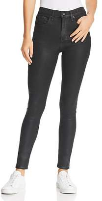 Rag & Bone High-Rise Coated Skinny Jeans in Shiny Black