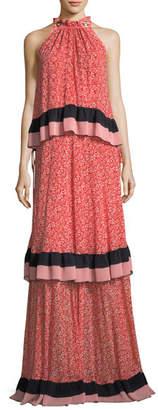 Derek Lam 10 Crosby Sleeveless Tiered Floral-Print Maxi Dress