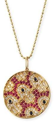 Sydney Evan Diamond & Ruby Hamsa Medallion Necklace