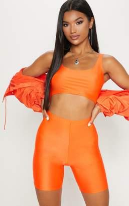 PrettyLittleThing Neon Orange Square Neck Crop Top