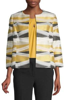 Kasper Geometric Three-Quarter Sleeve Blazer