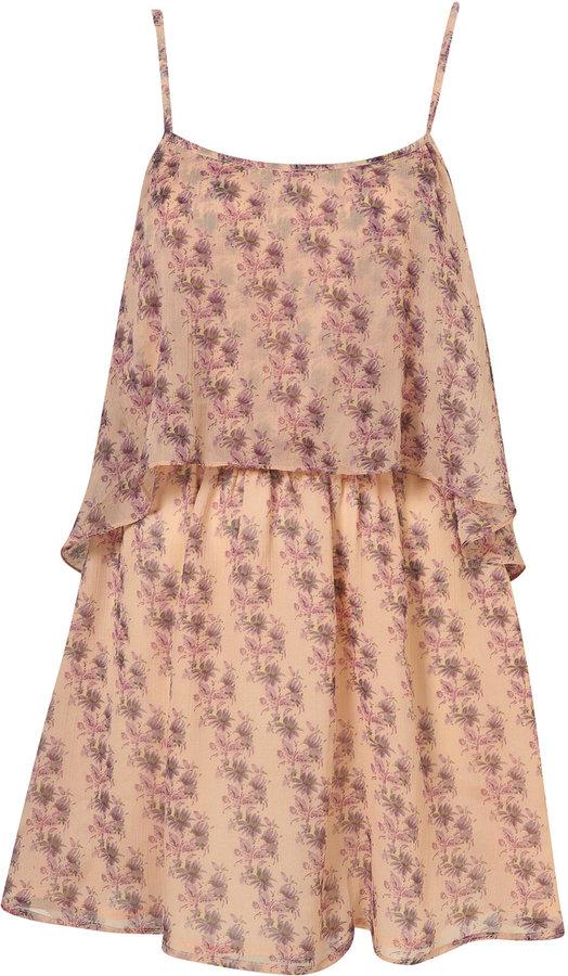 Pale Pink Floral Tier Chiffon Dress