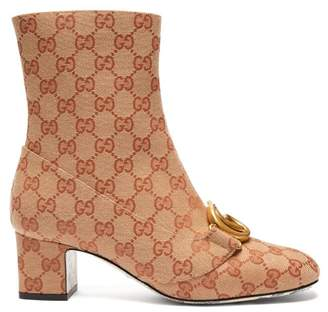 Gucci Gg Canvas Ankle Boots - Womens - Beige Multi