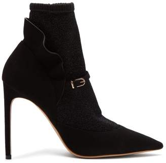 Sophia Webster Lucia Lurex Panelled Suede Ankle Boots - Womens - Black