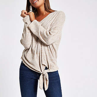 River Island Womens Beige hacci knit tie front top
