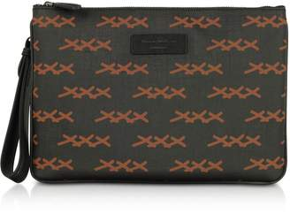 Ermenegildo Zegna Black Xxx Printed Coated Canvas And Vicuna Men's Clutch