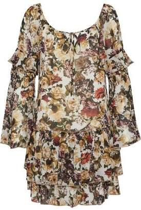 Bailey 44 Ruffled Floral-Print Crepe De Chine Mini Dress