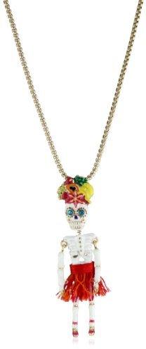 "Betsey Johnson Rio"" Skull Girl Pendant Necklace"