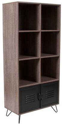 URBAN RESEARCH Flash Furniture Woodridge Collection Rustic Wood Grain Finish Storage Shelf with Metal Cabinet and Black Metal Legs