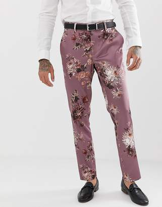 Asos Design DESIGN wedding skinny suit trouser with pink floral print