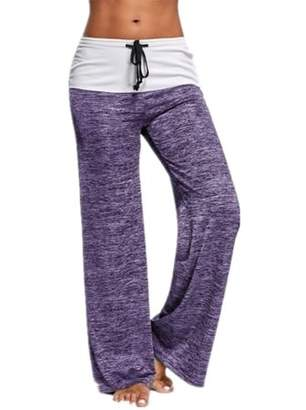 Lovaru Patchwork Women Wide Leg Casual Pants Long Trousers