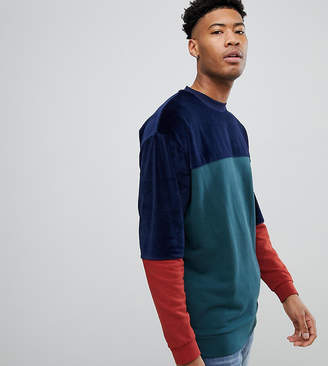 Asos DESIGN TALL Oversized Longline Sweatshirt In Velour Color Block