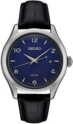 Seiko Men's Solar Essentials Black Leather Strap Watch 42mm