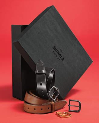 Shinola Men's Leather Belt Boxed Gift Set