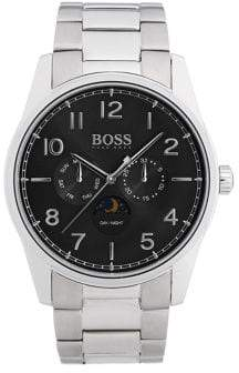 HUGO BOSS Heritage Silvertone Metal and Tri-Link Bracelet Watch