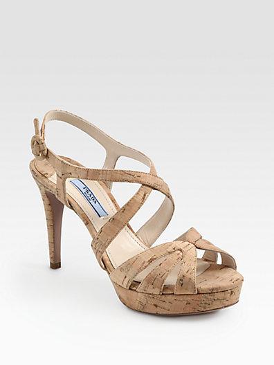 Prada Butterfly Cork Platform Sandals