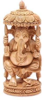 Wood sculpture, 'Blessed Ganesha II'