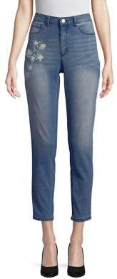 Jones New York Lexington Embroidered Skinny Jeans