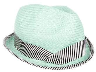 Eugenia Kim Striped-Trimmed Straw Hat w/ Tags