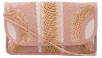 Carlos Falchi Textured Leather Clutch Pink Textured Leather Clutch