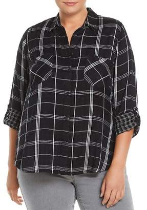 Lucky Brand Plus Plaid Button-Down Top