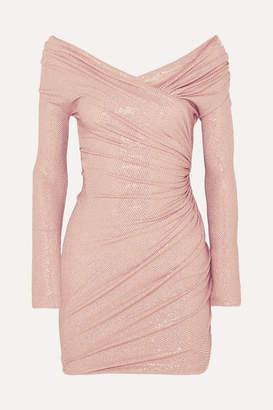 Alexandre Vauthier Off-the-shoulder Crystal-embellished Stretch-jersey Mini Dress - Blush