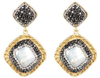 Avah and Ella Diamond Shaped Shell Drop Earrings