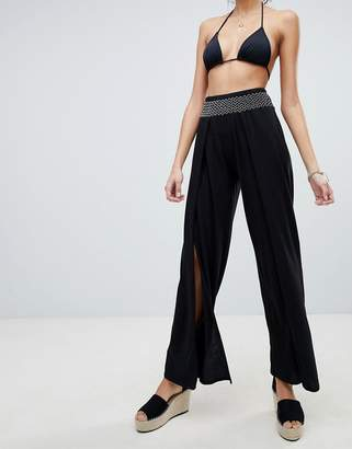 New Look Shirred Wide Leg Jersey Beach Pants