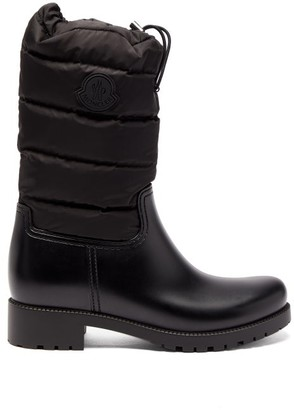 Moncler Ginette Padded Nylon And Leather Rain Boots - Womens - Black