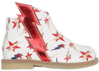 Ocra Stars & Bolts Print Leather Ankle Boots
