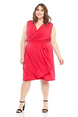 London Times Women's Plus Size Sleeveless Asymetrical Cascade Faux WRAP Dress